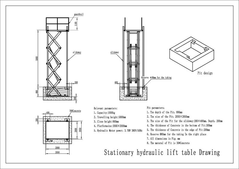 Thiết kế bàn nâng thủy lực tiêu chuẩn